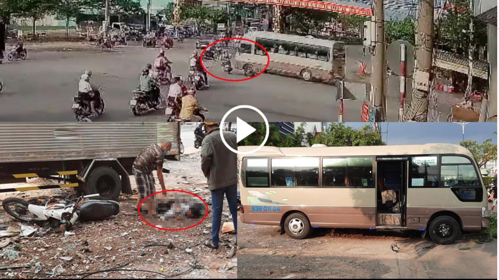 Xe khách vượt đèn đỏ đâm vào xe máy , 2 vợ chồng thương vong